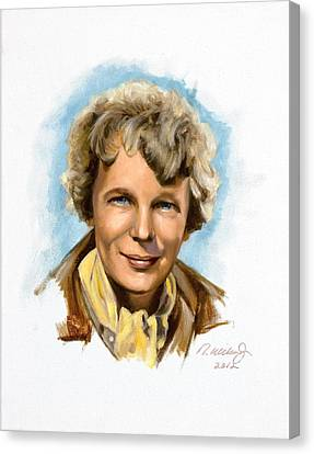 Canvas Print featuring the painting Amelia Earhart by Karen Wilson