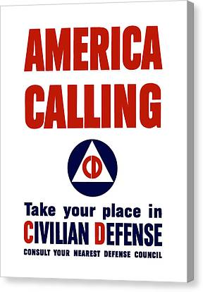 America Calling -- Civilian Defense Canvas Print by War Is Hell Store