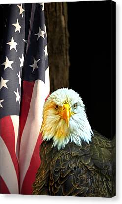 Canvas Print featuring the photograph American Eagle And American Flag by Randall Branham