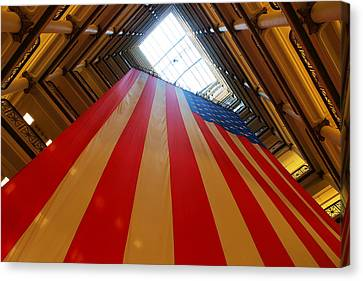 American Flag In Marshall Field's Canvas Print by Paul Ge