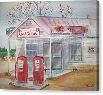 American Gas Station Canvas Print by Belinda Lawson