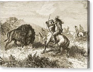 American Indians Buffalo Hunting. From Canvas Print by Ken Welsh