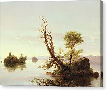 American Lake Scene Canvas Print by Thomas Cole