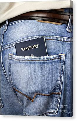 American Passport In Back Pocket Canvas Print