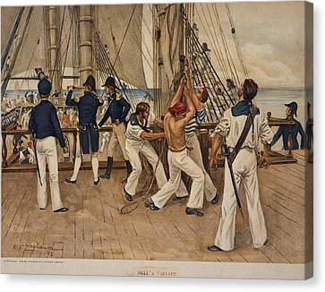 American Sailors And Officers On Deck Canvas Print by Everett