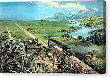 American Transcontinental Railroad Canvas Print by Photo Researchers