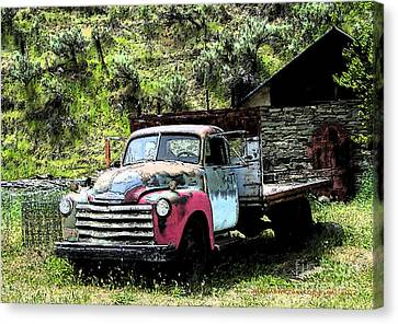 American Vintage Truck Many A Mile Canvas Print by Glenna McRae