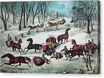 American Winter 1870 Canvas Print by Photo Researchers