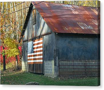 Canvas Print featuring the photograph Americana Barn by Clara Sue Beym