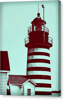 Turquoise And Rust Canvas Print - Americana Lighthouse by Tony Grider