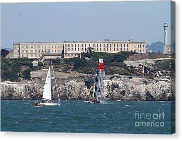Alcatraz Canvas Print - America's Cup In San Francisco - China Firefall - 7d18334 by Wingsdomain Art and Photography