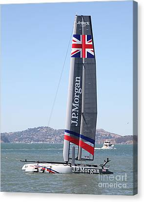 America's Cup In San Francisco - Great Britain Ben Ainslie Racing Sailboat - 5d18248 Canvas Print by Wingsdomain Art and Photography