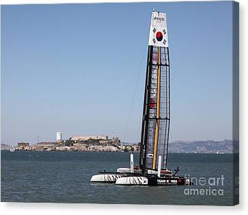 America's Cup In San Francisco - Korea White Tiger Sailboat - 5d18212 Canvas Print by Wingsdomain Art and Photography