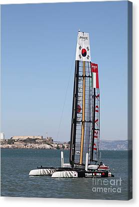 America's Cup In San Francisco - Korea White Tiger Sailboat - 5d18213 Canvas Print by Wingsdomain Art and Photography