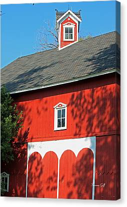 Amish Barn In Shadows Canvas Print by Suzanne Gaff