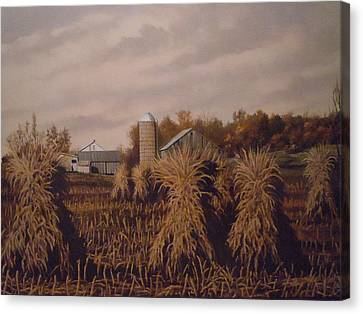 Amish Farm In Autumn Canvas Print by James Guentner
