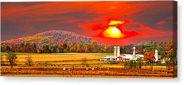 Amish Farm Sundown Canvas Print by Randall Branham