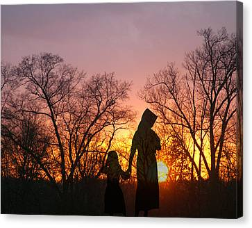 Amish Sisters Canvas Print