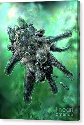 Amoeba Green Canvas Print by Russell Kightley