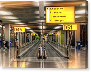 Canvas Print featuring the photograph Amsterdam Airport by Anna Rumiantseva