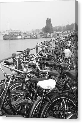 Amsterdam Bikes Canvas Print by Erica Ross
