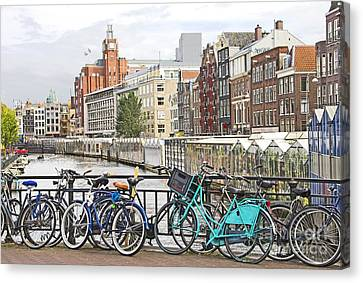 Old Home Place Canvas Print - Amsterdam Canal And Bikes by Giancarlo Liguori