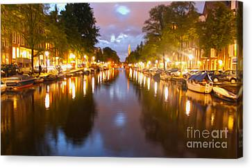 Amsterdam Canal At Night Canvas Print by Gregory Dyer