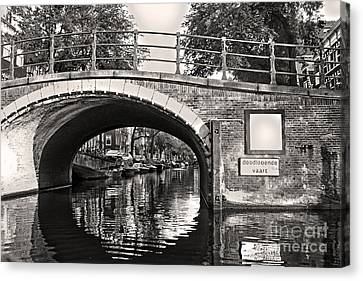 Amsterdam Canal Bridge In Sepia Canvas Print by Gregory Dyer