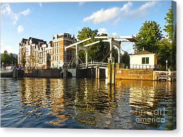 Amsterdam Canal Drawbridge - 03 Canvas Print by Gregory Dyer