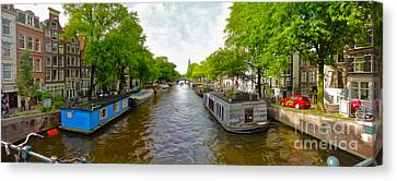 Amsterdam Canal Panorama Canvas Print by Gregory Dyer