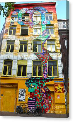Amsterdam Snake Graffiti Mural Canvas Print by Gregory Dyer