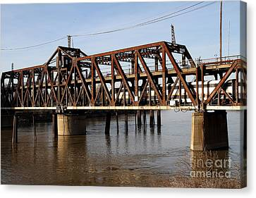 Amtrak California Crossing The Old Sacramento Southern Pacific Train Bridge . 7d11692 Canvas Print by Wingsdomain Art and Photography