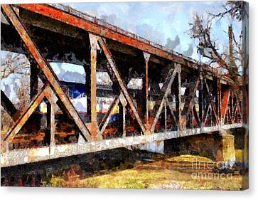 Amtrak California Crossing The Old Sacramento Southern Pacific Train Bridge . Painterly 7d11410 Canvas Print by Wingsdomain Art and Photography