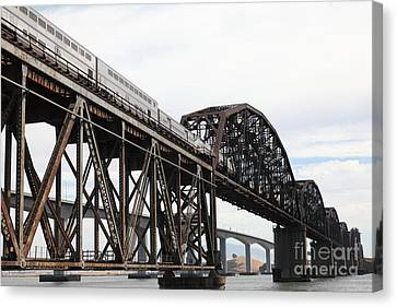 Amtrak Train Riding Atop The Benicia-martinez Train Bridge In California - 5d18728 Canvas Print by Wingsdomain Art and Photography
