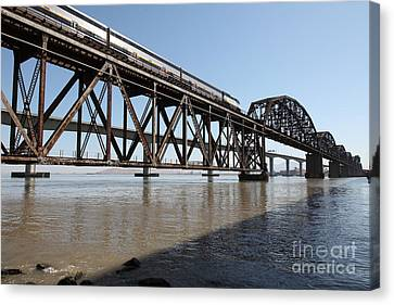 Amtrak Train Riding Atop The Benicia-martinez Train Bridge In California - 5d18829 Canvas Print by Wingsdomain Art and Photography
