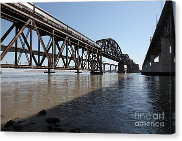 Amtrak Train Riding Atop The Benicia-martinez Train Bridge In California - 5d18830 Canvas Print by Wingsdomain Art and Photography