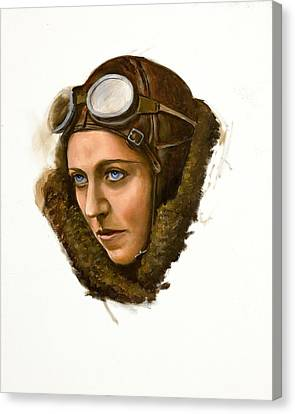 Canvas Print featuring the painting Amy Johnson by Karen Wilson