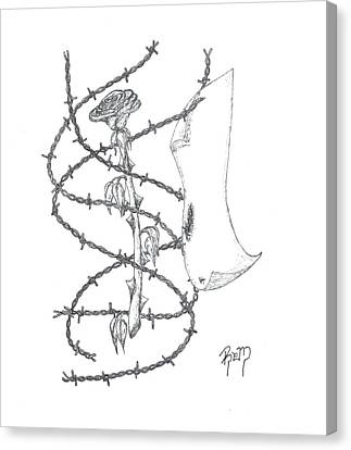 An Abstract Rose - Sketch Canvas Print by Robert Meszaros