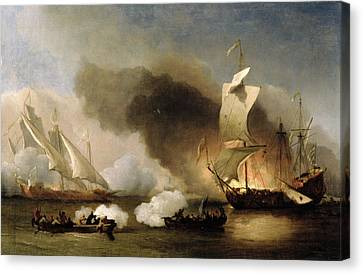 An Action Off The Barbary Coast With Galleys And English Ships Canvas Print by Willem van de Velde