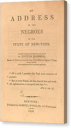 Antislavery Canvas Print - An Address To The Negros In The State by Everett