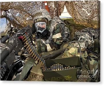 An Airman Defends Her Position Firing Canvas Print by Stocktrek Images