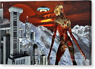 An Alien Being Overlooks Its Base Built Canvas Print by Mark Stevenson