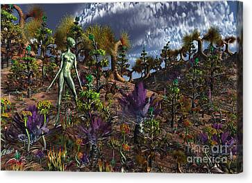 An Alien Being Surveys The Colorful Canvas Print