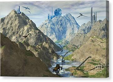 An Alien Reptoid Looks Upon The Ruins Canvas Print by Mark Stevenson