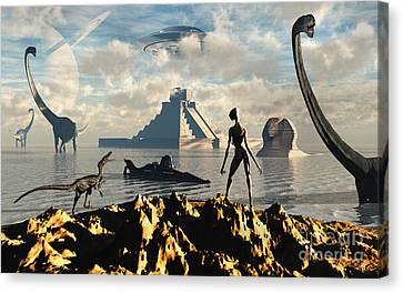 An Alien World Where Reptoid Beings Canvas Print by Mark Stevenson