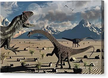 An Allosaurus Confronts A Small Group Canvas Print by Mark Stevenson