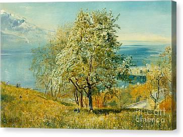 An Alpine Lake Canvas Print by John William Inchbold