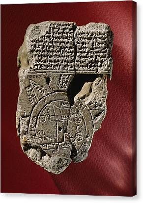 An Ancient Mesopotamian Map And Text Canvas Print by Victor R. Boswell, Jr