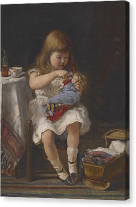 An Anxious Mother Canvas Print by Percival de Luce