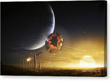 An Apocalyptic Scene Showing A Gravity Canvas Print